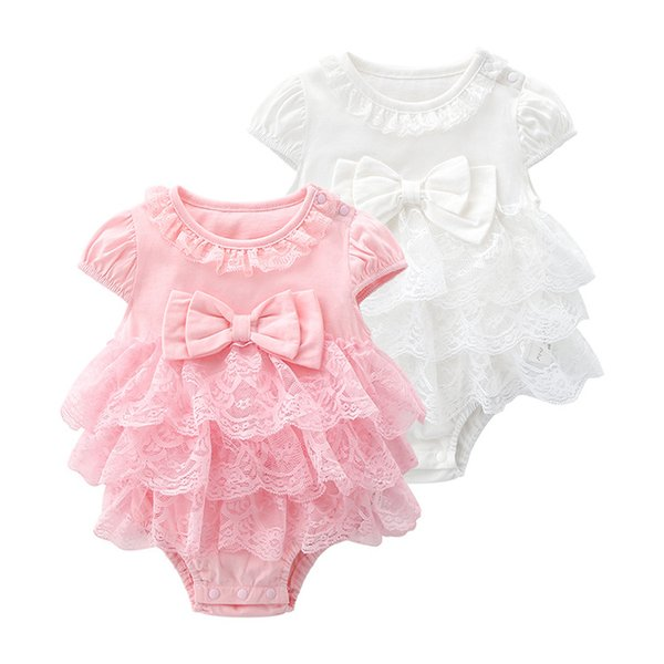 Newborn Baby Girl Rompers Lace Bow Birthday girls princess Jumpsuit Baby sleeveless for summer Tulle Cupcake Dress
