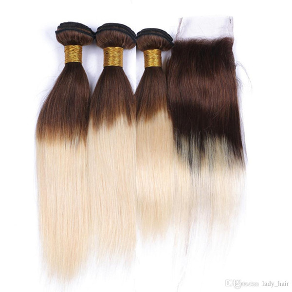 #4/613 Chocolate Brown and Blonde Ombre Virgin Peruvian Human Hair Weave Bundles with Closure Straight Two Tone Ombre 4x4 Lace Closure