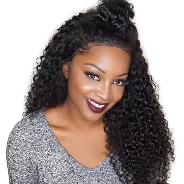 Glueless Top Grade Brazilian Human hair Wigs Kinky Curly Lace front and Full lace Natural Color For Black Women