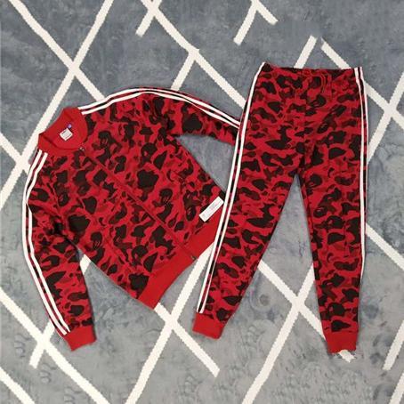 Designer Mens Survêtements Haute Qualité Tête de Singe Camouflage Deux Marques Imprimer Mode Costumes De Sport Veste + Pantalon Ensemble En Cours D'exécution CE98204
