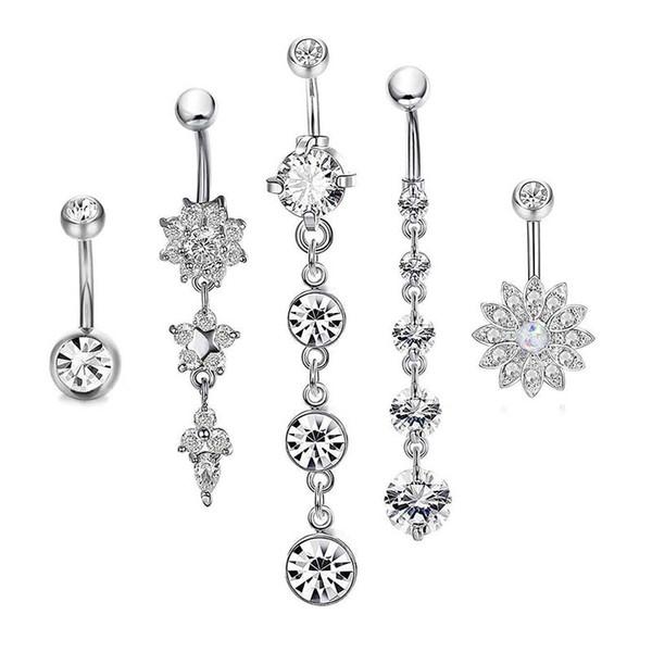 Diamantes de lujo Mujeres Diseñador Ombligos Rhinestone de alta calidad Anillos de ombligo Anillos de botón de campana de oro Joyería del cuerpo Venta directa