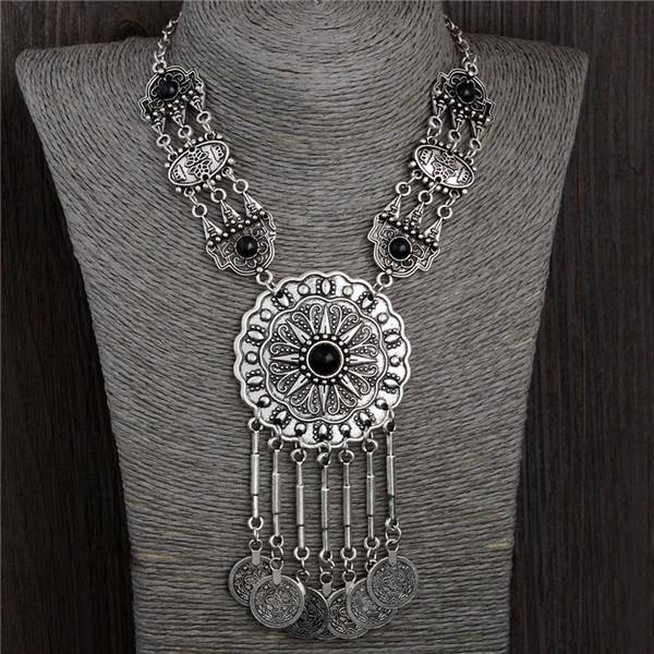 H: HYDE Fashion Collana in argento antico tailandese con ciondoli pendenti con collane girocollo gioielli vintage nazione