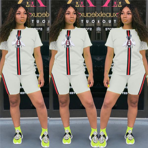 T-shirt da donna a manica corta a maniche corte a righe bianche + pantaloncini Set Tute da donna di design per donna Nero Bianco Sportswear C7504