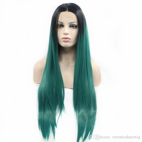 Free Shipping Glueless Long Silky Striaght Women Hair Cosplay Wigs Ombre Green Dark Root Synthetic Lace Front Wig Heat Resistant Fiber Hair