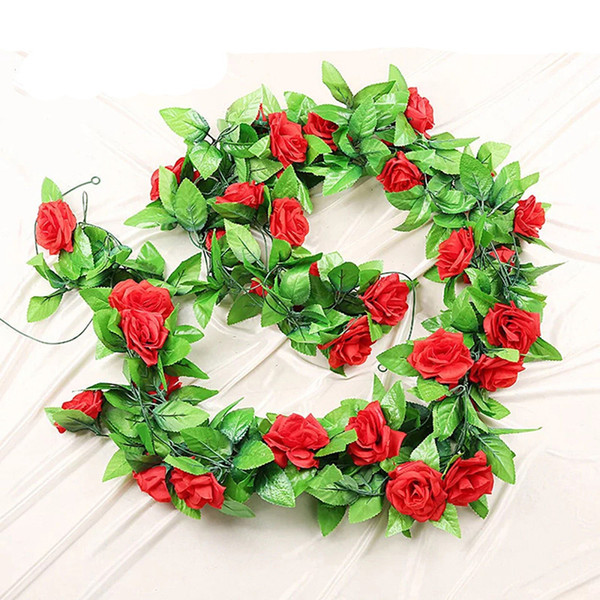 240cm Roses Ivy Vine Artificial Flowers with Green Leaves For Home Wedding Decoration Hanging Garland Decor