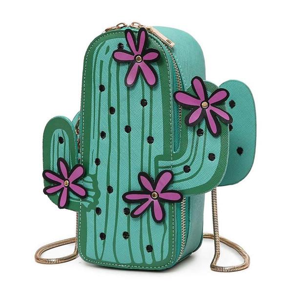 FGGS-Femmes Sac à bandoulière en forme de cactus en cuir PU avec un joli sac à bandoulière et une jolie chaîne (Vert)