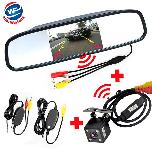 rear Car Rear View with mirror Monitor System kit Assistance 2.4Ghz Wireless Camera system kit hot sale