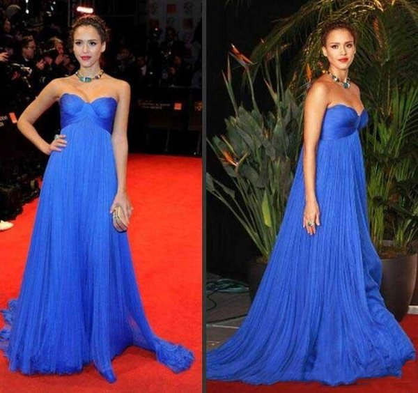 Simple Blue Empire Waist Maternity Prom Dresses Plus Size Celebrity Party Dress for Pregnant Women Cheap Sweetheart Long Tulle Evening Wear