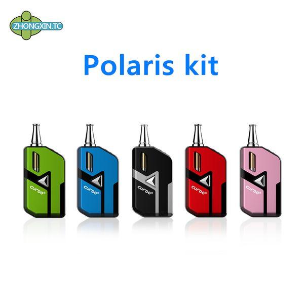 100% original Curdo Polaris vaporizador Mod Starter Kit 400 mAh Batería Caja de voltaje variable con cartucho de bobina de cerámica para aceite grueso Vape