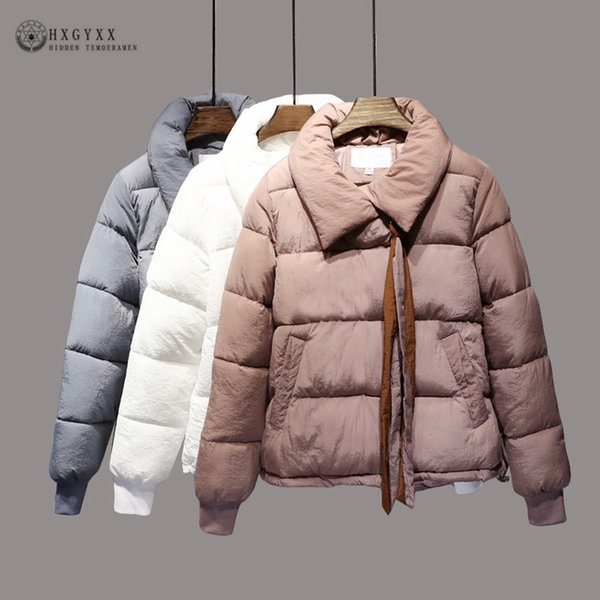 5723aafe8 2019 2019 NEW Puffer Jacket Women Winter Coat Plus Size Thick Short Down  Parka Turn Down Collar Loose Zipper Cotton Padded Outwear Okd360 Coats From  ...