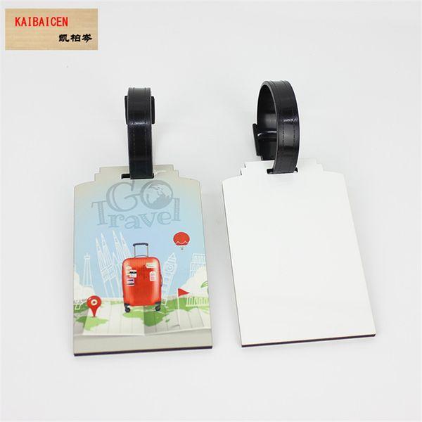 Moda bricolaje sublimación en blanco etiqueta de equipaje MDF dos lados se pueden imprimir para la transferencia de calor de la máquina de regalo