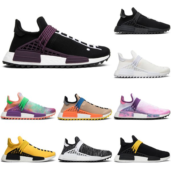 Fashion Human Race Pharrell Williams Running Shoes Men Women Hu Trail Blank Canvas NERD black oreo designer mens Trainers Sports Sneakers