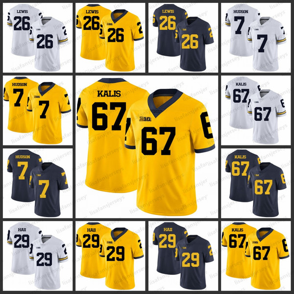 newest b9afc 880af 2019 Michigan Wolverines College Jerseys 26 Jourdan Lewis 7 Khaleke Hudson  67 Kyle Kalis 29 Leon Hall All Stitched Football Jersey From ...