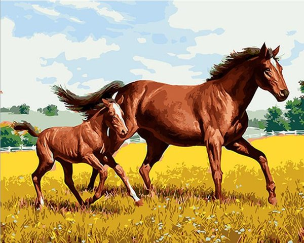 Horse Mother and Child DIY Painting By Numbers Drawing By Painting Kits Painting Hand Painted On Canvas For Home Wall Art Picture Poster