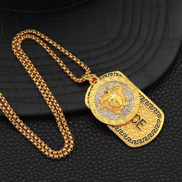 Versace necklace L'oro punk Medusa Hip Hop tag head ritratto della collana Pendant neckalce di modo nuovo di lusso 18k gioielli e accessori