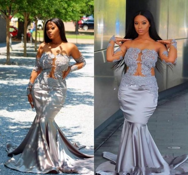 2019 New Designer African Off Shoulder Mermaid Lace Appliques Prom Dresses Long Sleeves Formal Plus Size Evening Party Gown