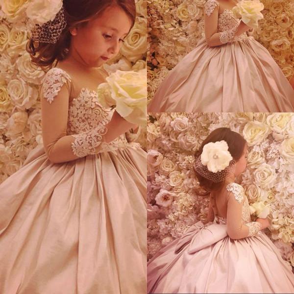 Compre Elegantes Vestidos De Niña De Flores 2019 Para Bodas Vestido De Fiesta Manga Larga De Encaje Vestidos Largos De Primera Comunión Para Niñas
