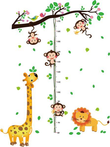 Dessin animé Girafe Singe Hauteur Mesurer Stickers Muraux Home Decor Arbre rotin graphique Règle Décoration Pour Enfants Chambres Stickers Mur Art