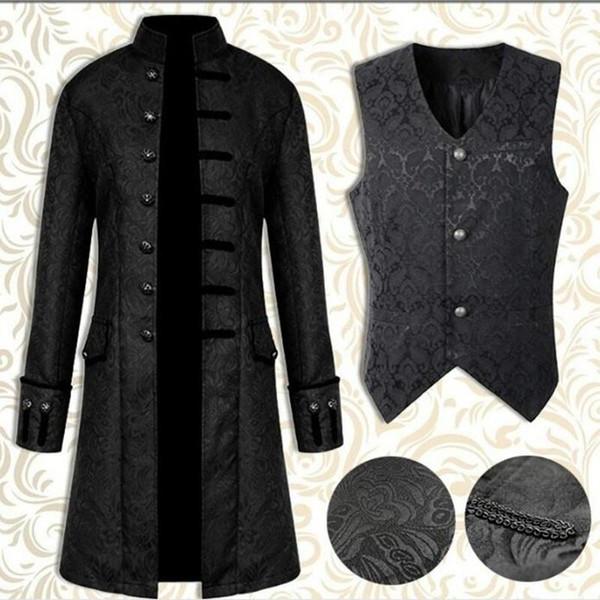 New Retro Steampunk Homme Coupe-Vent Trench Homme Veste Manteau Robe de style gothique victorien Uniforme Manteau médiéval / Gilet Opéra Costume