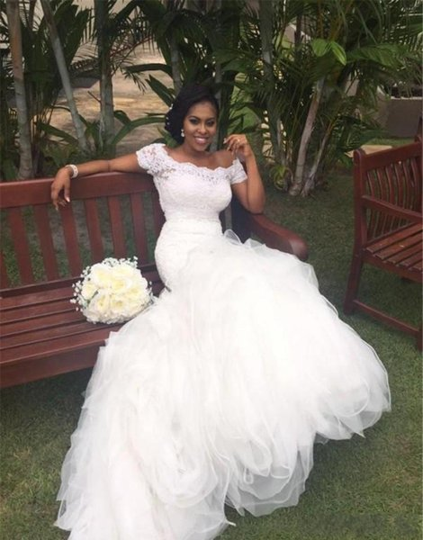 2019 Bateau Off the Shoulder Short Sleeves Lace Top Ruffled Skirt Stunning Bridal Gowns Fit and Flare African Mermaid Wedding Dresses
