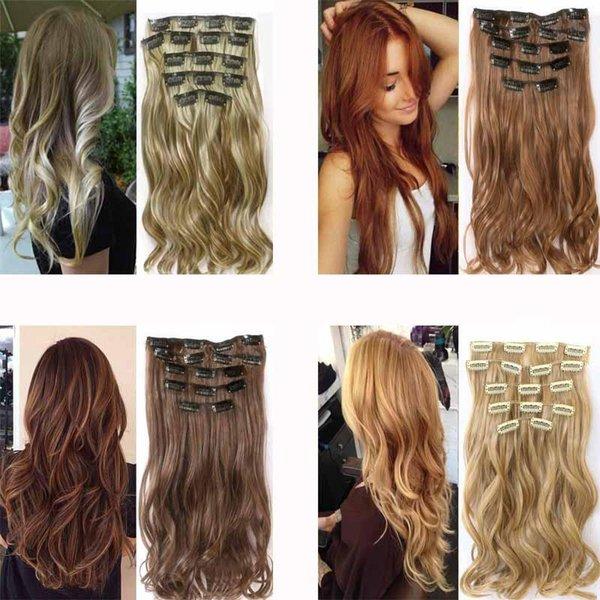 저렴한 합성 클립 인 1 조각 Merisi 22 합성 웨이브 내열성 밝은 갈색 회색 금발 여성 머리 확장 세트