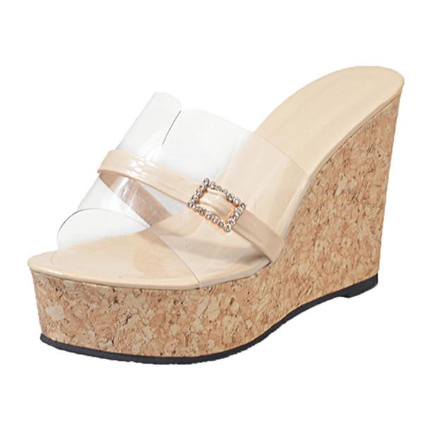 SAGACE Women Slippers Summer Transparent Slipper Height Increasing Wedges Platform Sandals Women Beach Slides Casual 9031625