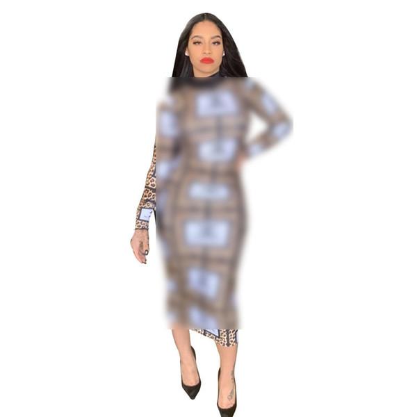 Women Designer Dress Long Slim Leopard Summer Luxury Dresses Brand Long Sleeve Bodycon Skirt Womens Clothing Plus Size Party Dresses C71707