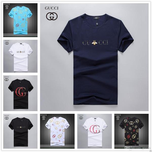 Venda quente dos homens t-shirts de verão marca de luxo dos homens 100% algodão t-shirts impresso logotipo rua casual hip-hop dos homens t-shirt