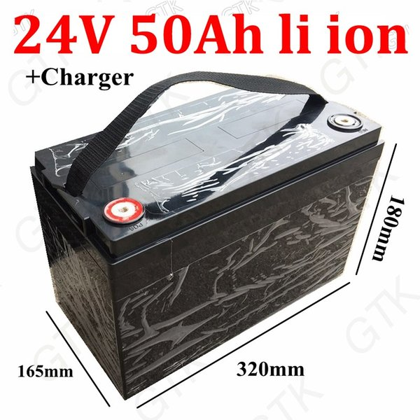 Lithium 24V 50AH li ion rechargeable battery 18650 BMS for 1200W Hunting lamp AGV Rental motorhomes Solar inverter +5A charger