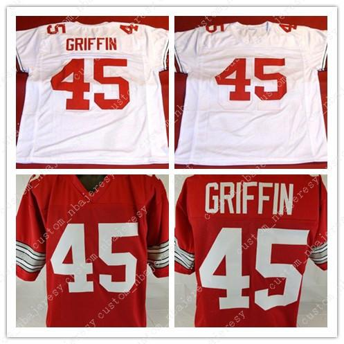Cheap custom Archie Griffin Sewn Red College Style Football Jersey Customized Any name number Stitched Jersey XS-5XL