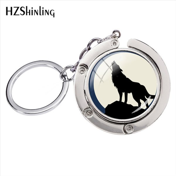 2019 New Fashion Howling Wolf Art Glass Cabochon Photos Bag Hanger Key Ring Jewelry Accessories Gifts