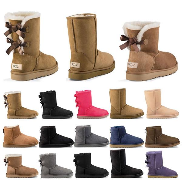 ugg boots 2020 Nuovi stivali firmati Australia donna ragazza stivali da neve classici bowtie stivaletti in pelliccia con fiocco corto per l'inverno Castagno nero moda taglia 36-41