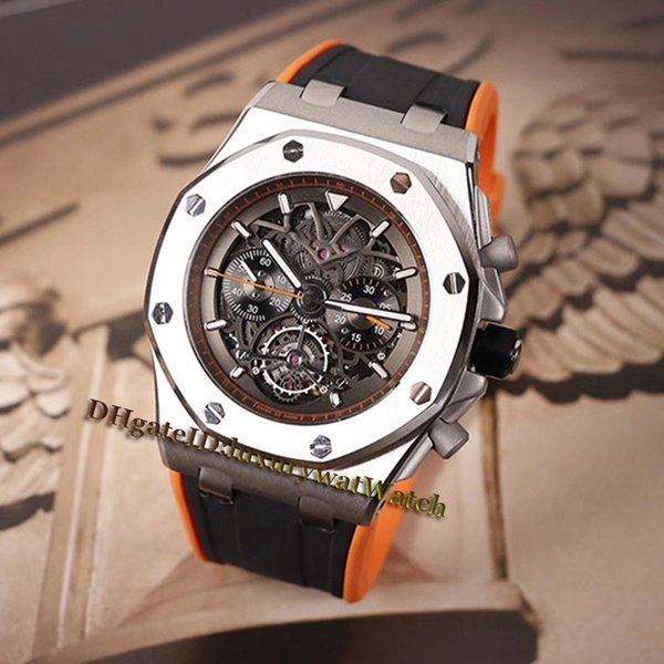 45mm 26343CE 26343CE.OO.D002CA.04 Black Hollow Skeleton Dial Automatic Mechanical Mens Watch Silver Steel Case Black Rubber Strap Watches
