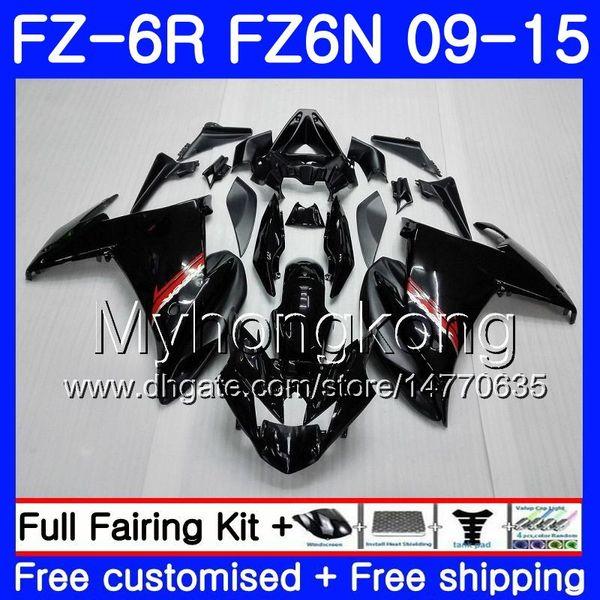 Cuerpo para YAMAHA FZ6N FZ6 R FZ 6N FZ6R 09 10 11 12 13 14 15 239HM.1 FZ-6R FZ 6R Negro brillante CALIENTE 2009 2010 2011 2012 2013 2014 2015 Carenados