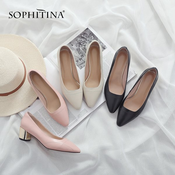 Sophitina Fashion Shaving Leather Bombs Slip -on Spring Slip -on Shoes Handmade Round Heel Concise Career Of Women New Bombs So88