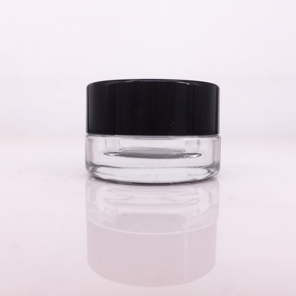 E cigs Cigarette Glass Cosmetic Cream Bottles Round Jars Bottle with White Inner Liners for Wax Oil Jar Dry Herb Concentrate