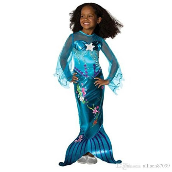 Mermaid Girls dress Maxi 3D flowers Beads Tail dresses Costumes Cosplay clothes School performance clothing 2018 summer