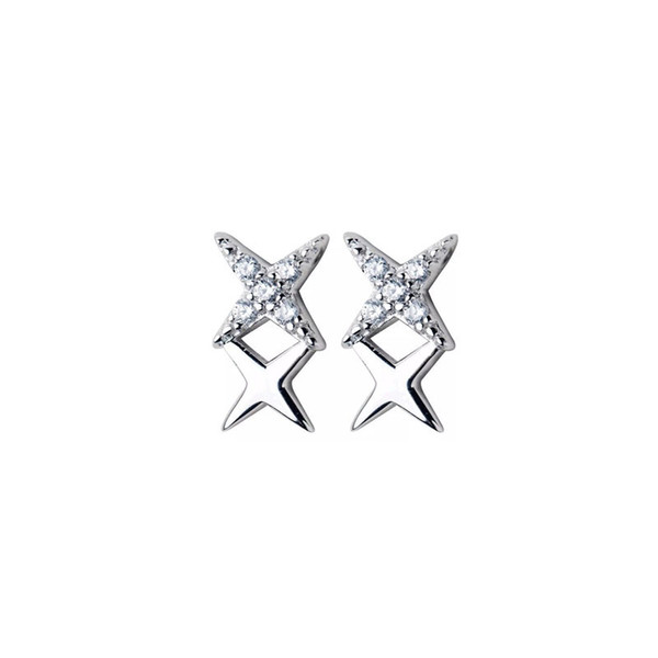Women's fashion zircon four-pointed star stud earrings High quality s925 sterling silver is not easy to be allergic 6-ES3028