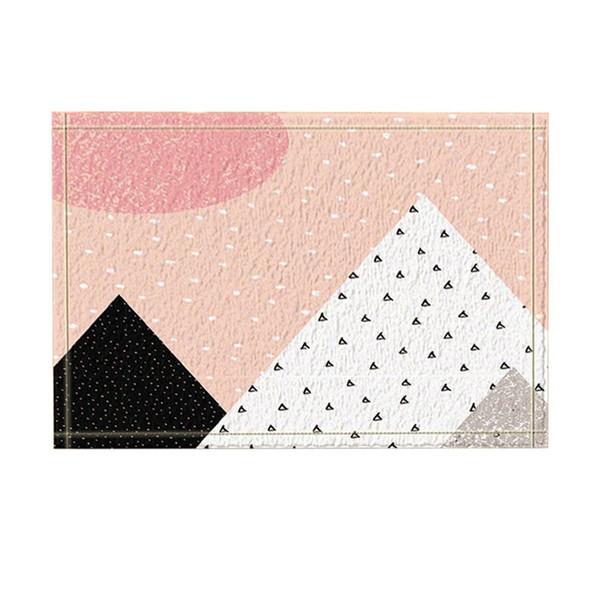 Art Character Geometry Decor Pink Snow for Christmas Bath Rugs Non-Slip Doormat Floor Indoor Front Door Mat Kids Bath Mat