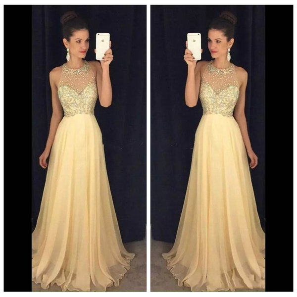 2019 Sheer Jewel Sleeveless Beaded A-Line Prom Dresses Chiffon Long Open Back Sweep Train Long Evening Party Gowns Cheap Special Gowns Maxi