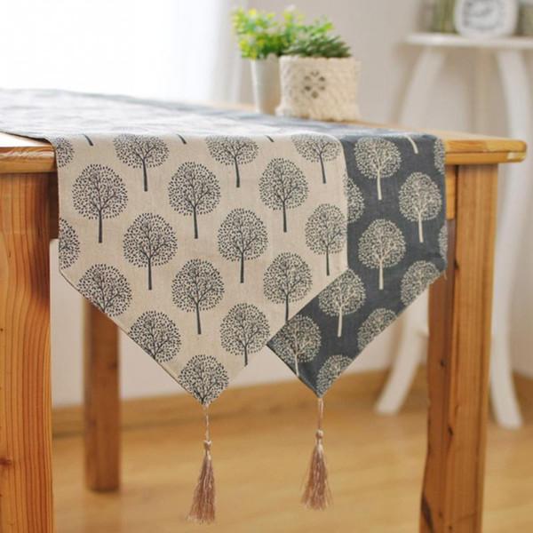 Chemin de table en lin Moderne Arbre motif Chirstmas fête de mariage Décor artisanat Lin Chemin de Table en coton Décor À La Maison