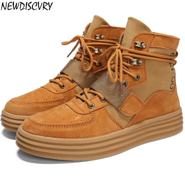 NEWDISCVRY cuero auténtico zapatillas de deporte del top del alto de los hombres 2019 hombres de moda plana tobillo de la plataforma Botas Formadores el hombre casual zapatos