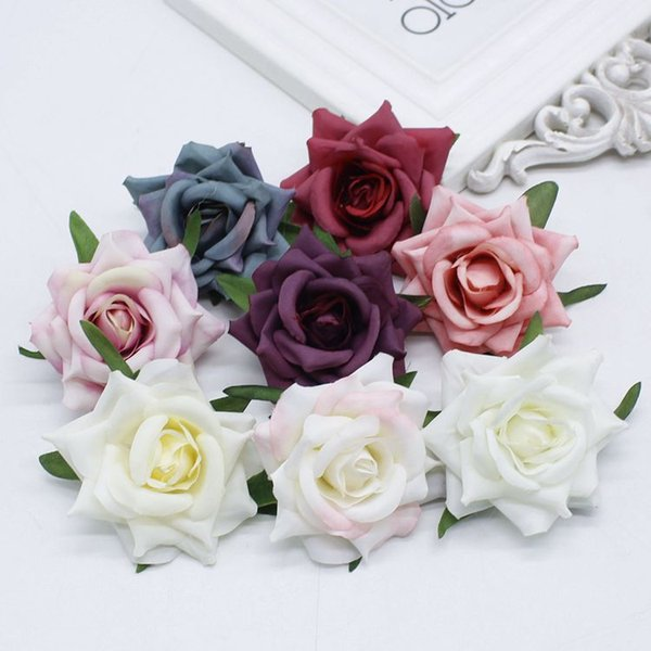 10PCS 6cm Roses Vintage Artificial Flower Heads DIY Valentine's Day Wedding Party Decoration Bridal Wreath Corsage Accessories
