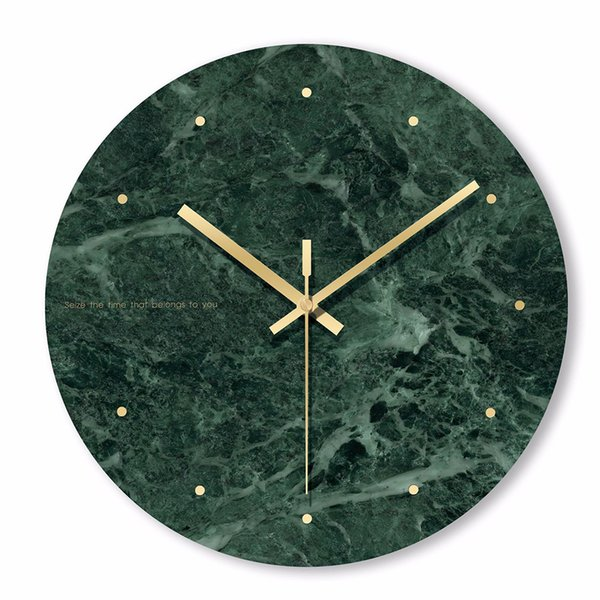 top popular Marble Wall Clock Simple Decorative Creative Nordic Modern Marble Clock Wall for Living Room Kitchen Office Bedroom 2020