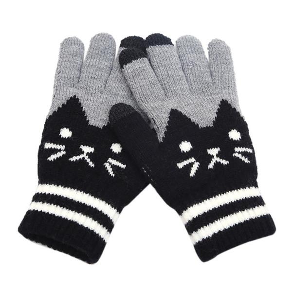 MUQGEW NEW Arrival Womens Men Winter Click Screen Fingers Screen Glove Cut Cat Knit Warm Fleece Glove winter gloves women lavas
