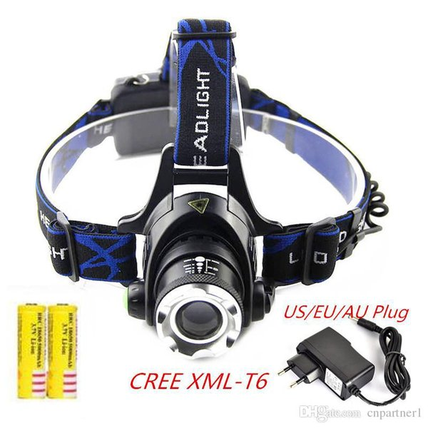Fast ship 3000Lm Waterproof CREE XML T6 Zoom LED Headlight Headlamp Head Lamp Light Zoomable Adjust Focus For Bicycle Camping Hiking