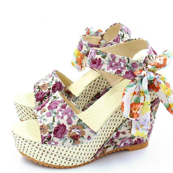 Hot Sale-Women Sandals Slik Bow Slides Platform Wedges 2018 Summer Shoes Woman Flip Flops Open Toe High Heels Sandalias Mujer Zapatos