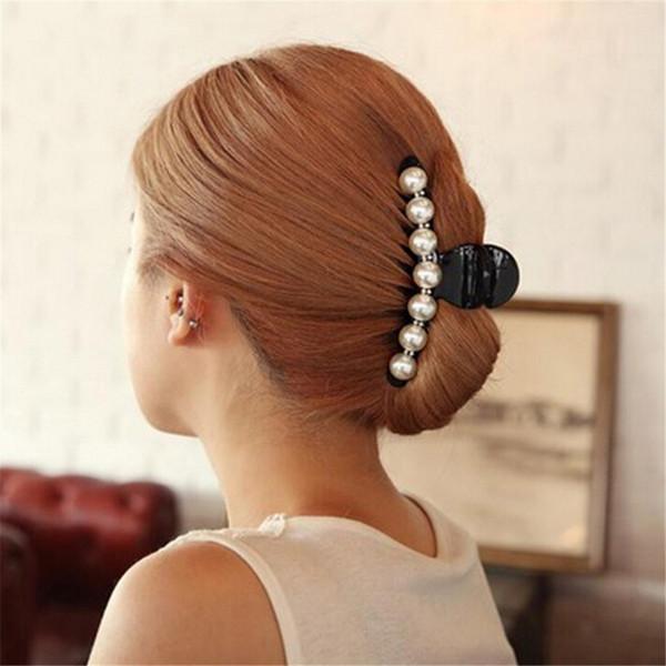 Black Big Rhinestone horquillas para las mujeres perlas pinzas para el cabello cangrejo garras de pelo para niñas Barrettes Headwear horquillas para el cabello accesorios