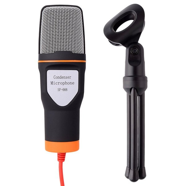 Hochwertiges kabelgebundenes Stereo-Kondensatormikrofon mit Halterclip zum Chatten Gesang Karaoke-PC-Laptop SF-666 $ 18 ohne Tracking