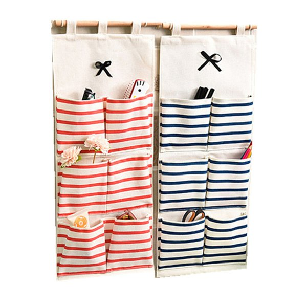 Practical 6 Grids Storage Pockets Wall Door Hanging Organizer Bathroom Sundries Socks Sorting Pouch Household Accessories